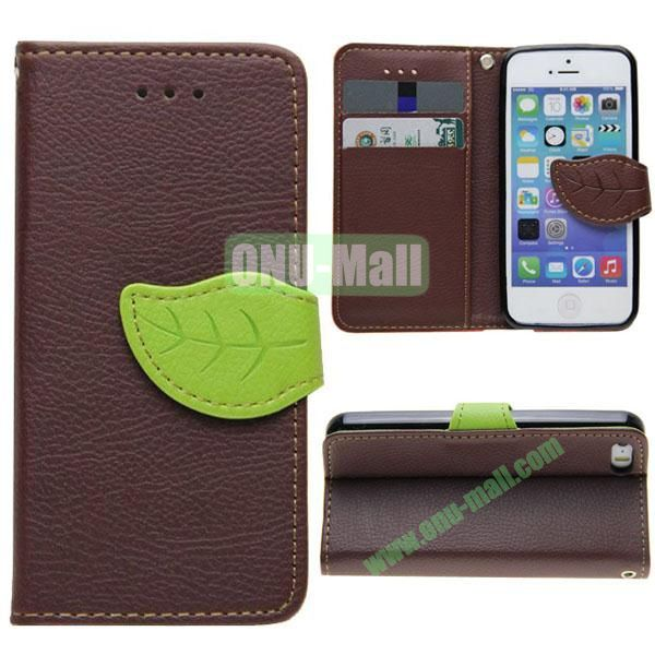 Leaf Shape Buckle Litchi Texture Leather Case for iPhone 5S5 with Card Slots and Holder & Belt (Brown)
