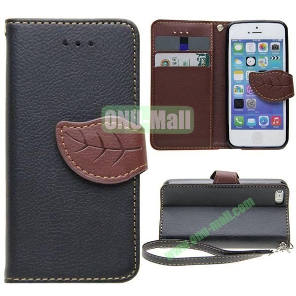 Leaf Shape Buckle Litchi Texture Leather Case for iPhone 5S5 with Card Slots and Holder & Belt (Black)