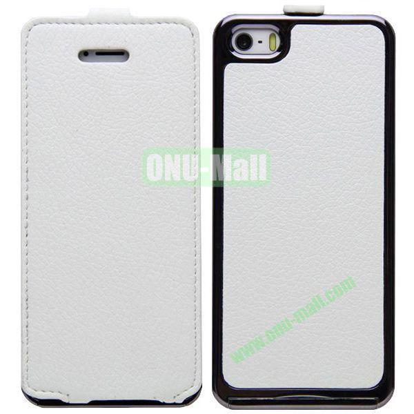 Leather Paste Vertical Flip Case Cover with Electroplating Frame for iPhone 5S5 (White)