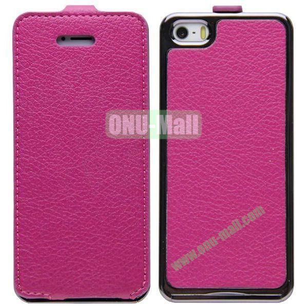Leather Paste Vertical Flip Case Cover with Electroplating Frame for iPhone 5S5 (Rose)