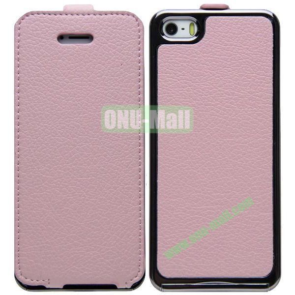 Leather Paste Vertical Flip Case Cover with Electroplating Frame for iPhone 5S5 (Pink)