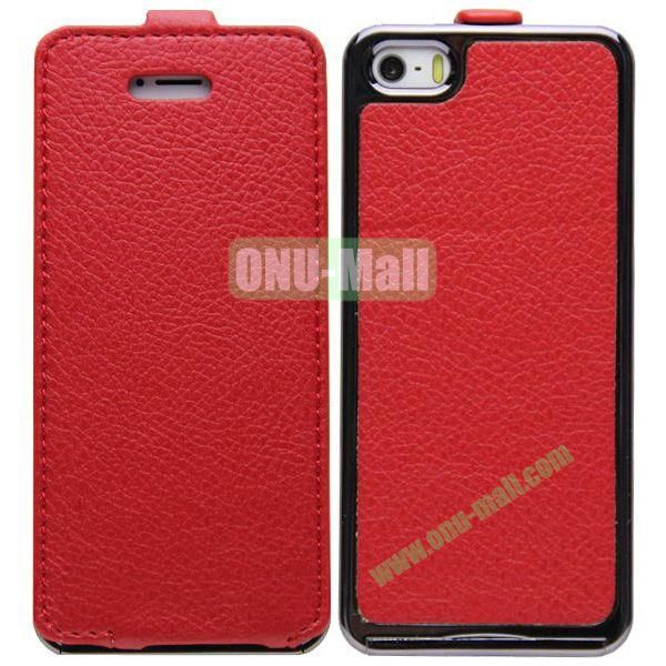 Leather Paste Vertical Flip Case Cover with Electroplating Frame for iPhone 5S5 (Red)
