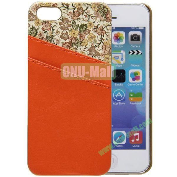 Flower Images Vebeer Gluing Genuine Leather Case for iPhone 5S5 with Back Card Slots(Orange)