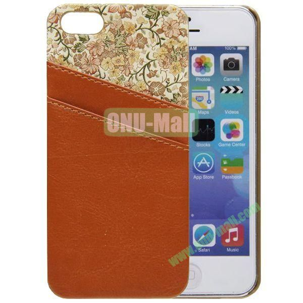 Flower Images Vebeer Gluing Genuine Leather Case for iPhone 5S5 with Back Card Slots(Brown)