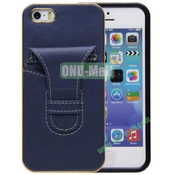 2 in 1 Genuine Leather Case for iPhone 5S with Clip and Card Slot(Blue)