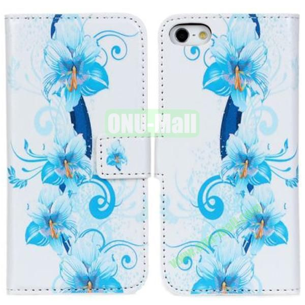 Fashion Flowers Pattern Leather Case for iPhone 5S5 with Card Slots and Holder