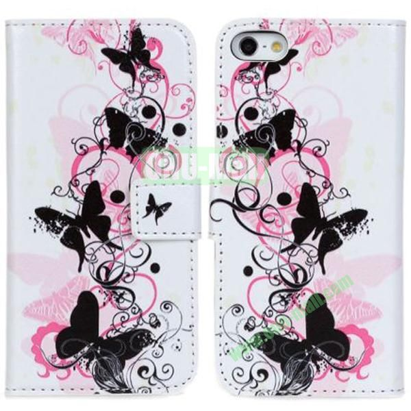 Butterflies over Flowers Pattern Leather Case for iPhone 5S5 with Card Slots and Holder