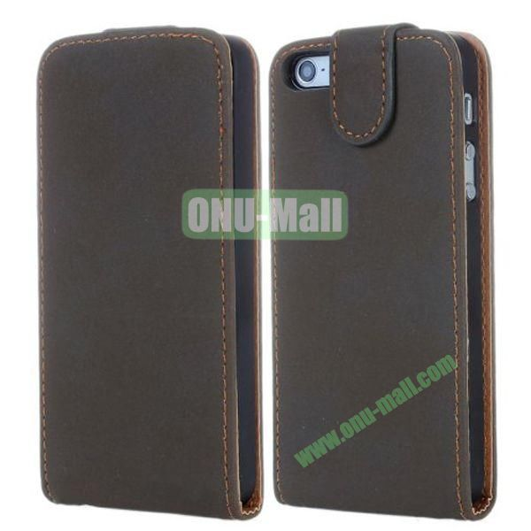 Magnetic Vertical Flip Leather Case for iPhone 5S5 (Brown)