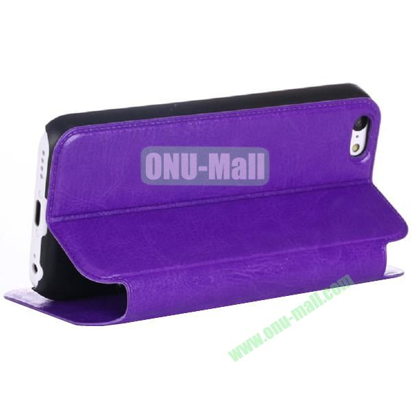 Crazy Horse Texture PU Leather Case for iPhone 5S5 with Card Slots and stand (Purple)