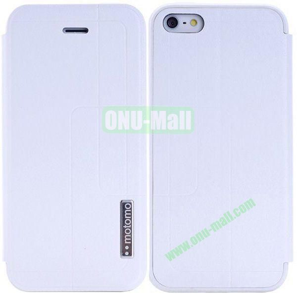 Litchi Texture Leather Case for iPhone 5S5 with Holder (White)