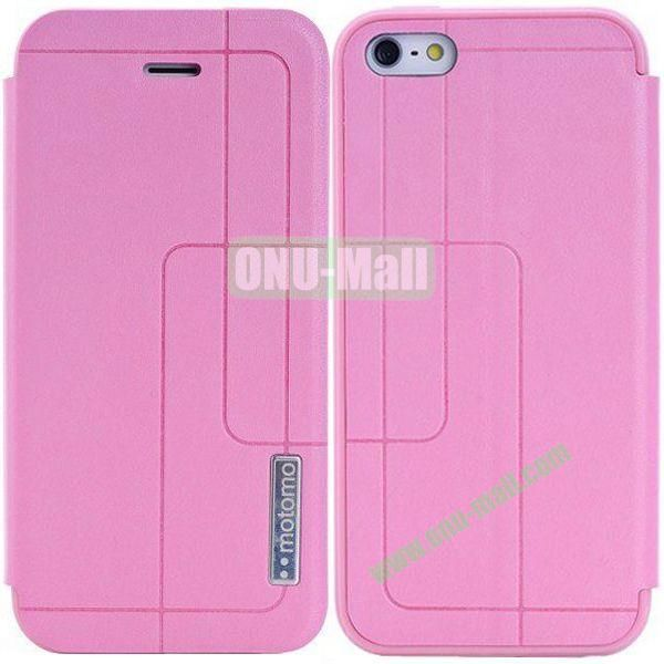 Litchi Texture Leather Case for iPhone 5S5 with Holder (Pink)