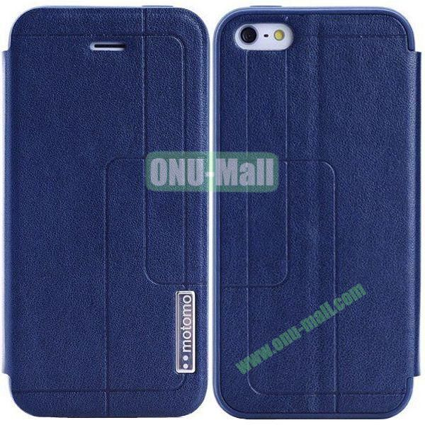 Litchi Texture Leather Case for iPhone 5S5 with Holder (Dark Blue)