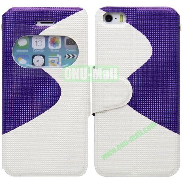 S Shape 2 Color Mix Flip Leather Case for iPhone 5S with Holder and Window (White+Purple)