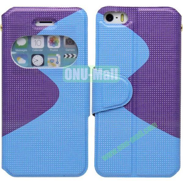 S Shape 2 Color Mix Flip Leather Case for iPhone 5S with Holder and Window (Blue+Purple)