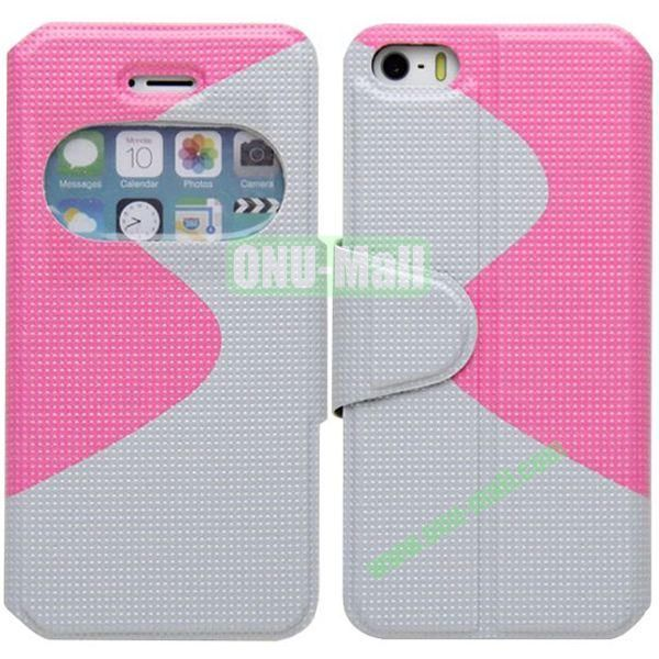 S Shape 2 Color Mix Flip Leather Case for iPhone 5S with Holder and Window (Pink + White)