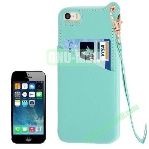Cross Texture Leather + TPU Case for iPhone 5S5 with Card Slot & Lanyard (Light Blue)