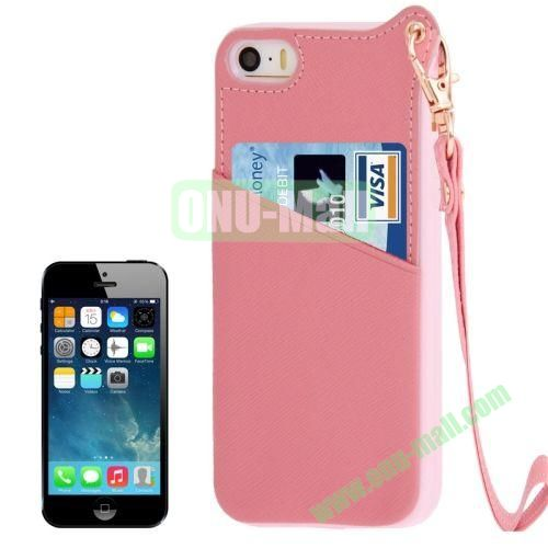 Cross Texture Leather + TPU Case for iPhone 5S5 with Card Slot & Lanyard (Pink)