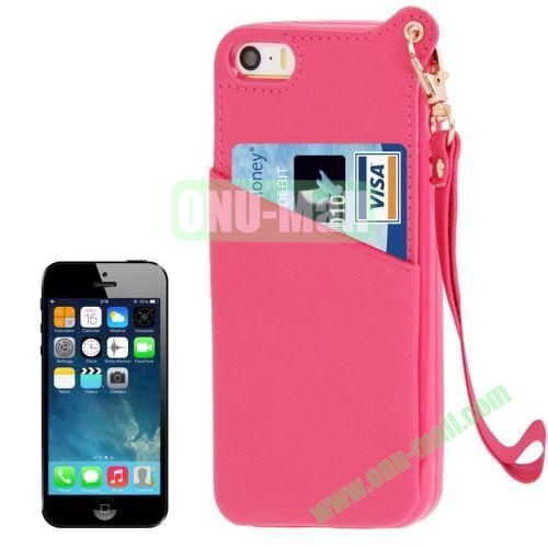 Cross Texture Leather + TPU Case for iPhone 5S5 with Card Slot & Lanyard (Rose)