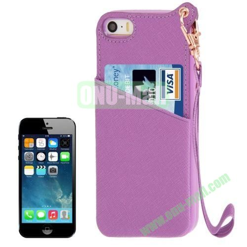 Cross Texture Leather + TPU Case for iPhone 5S5 with Card Slot & Lanyard (Purple)