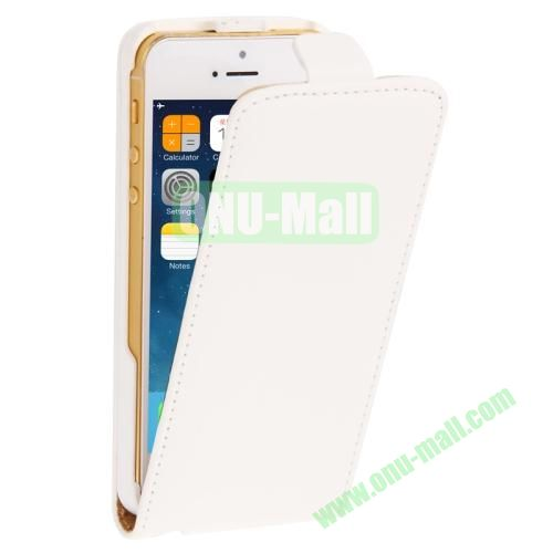 Vertical Flip Leather Case for iPhone 5 & 5S with Earphone Hole (White)