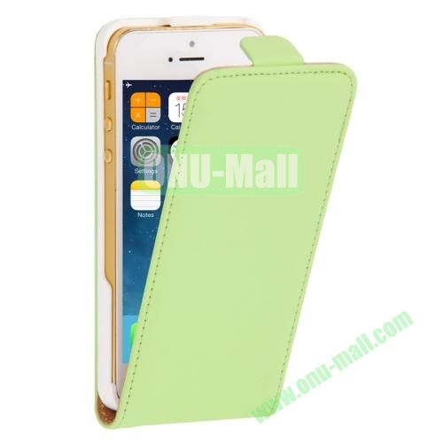 Vertical Flip Leather Case for iPhone 5 & 5S with Earphone Hole (Green)