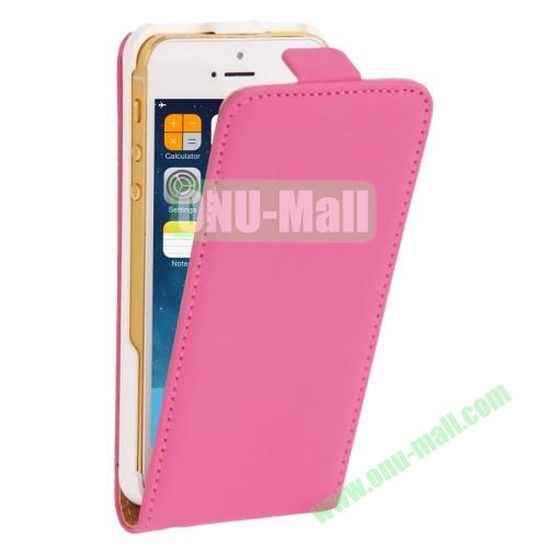 Vertical Flip Leather Case for iPhone 5 & 5S with Earphone Hole (Rose)