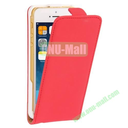 Vertical Flip Leather Case for iPhone 5 & 5S with Earphone Hole (Red)