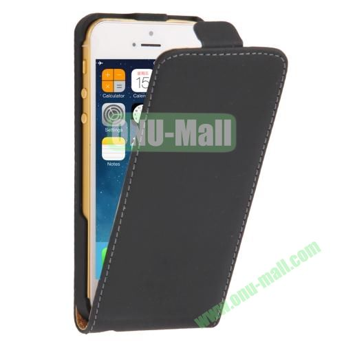Vertical Flip Leather Case for iPhone 5 & 5S with Earphone Hole (Black)