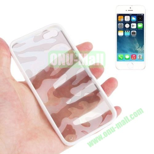 Camouflage Pattern Translucent Plastic + TPU Case for iPhone 55S (White)