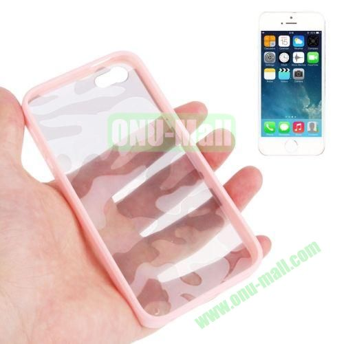 Camouflage Pattern Translucent Plastic + TPU Case for iPhone 55S (Pink)