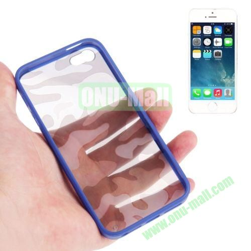 Camouflage Pattern Translucent Plastic + TPU Case for iPhone 55S (Blue)