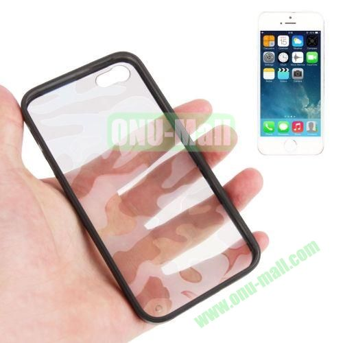 Camouflage Pattern Translucent Plastic + TPU Case for iPhone 55S (Black)