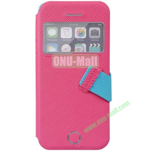 Tree Bark Texture Leather Case with Callid Caller ID and Holder for iPhone 5S5 (Rose)