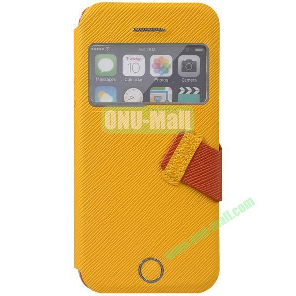 Tree Bark Texture Leather Case with Callid Caller ID and Holder for iPhone 5S5 (Yellow)