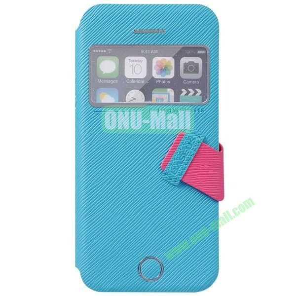 Tree Bark Texture Leather Case with Callid Caller ID and Holder for iPhone 5S5 (Blue)