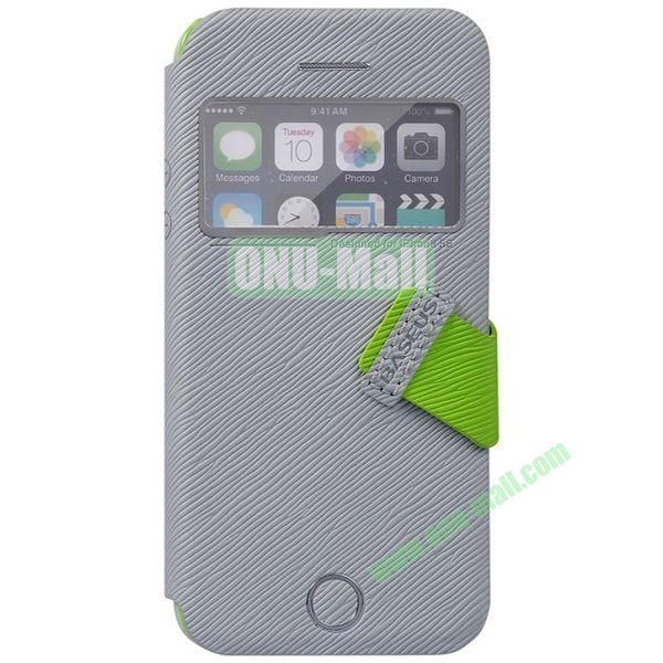 Tree Bark Texture Leather Case with Callid Caller ID and Holder for iPhone 5S5 (Grey)