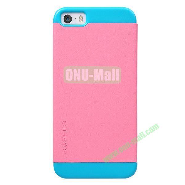 Baseus Unique Folio Leather Shell Case for iPhone 5S  5 (Pink+Blue)