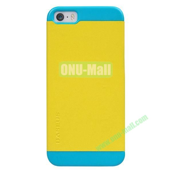 Baseus Unique Folio Leather Shell Case for iPhone 5S  5 (Yellow+Blue)