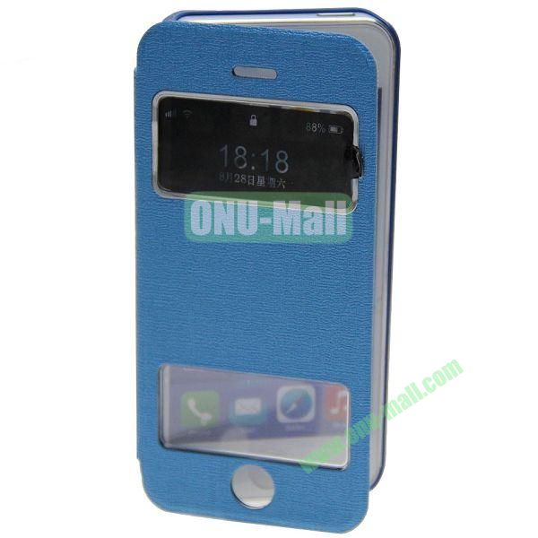 Adila Oracle Texture S View Stand Leather Case for iPhone 5S (Blue)