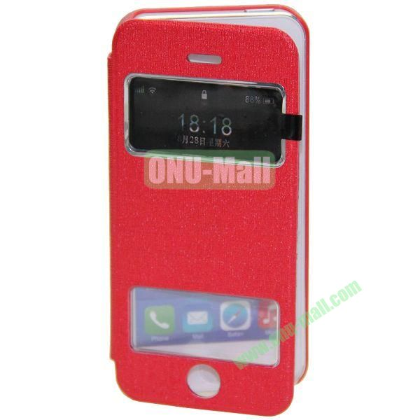 Adila Oracle Texture S View Stand Leather Case for iPhone 5S (Red)