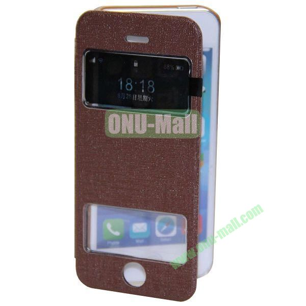 Adila Oracle Texture S View Stand Leather Case for iPhone 5S (Brown)