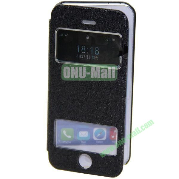 Adila Oracle Texture S View Stand Leather Case for iPhone 5S (Black)