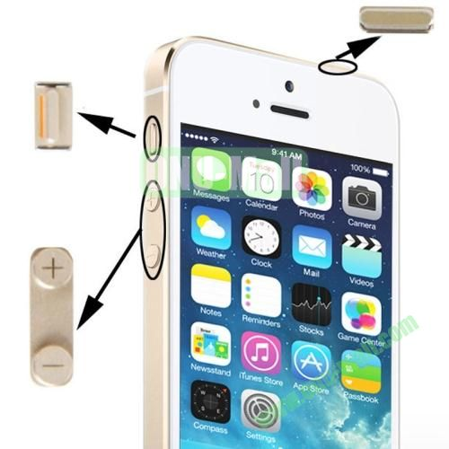3 in 1 Alloy Material (Mute Button + Power Button + Volume Button) for iPhone 5S (Golden)
