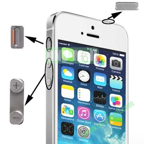 3 in 1 Alloy Material (Mute Button + Power Button + Volume Button) for iPhone 5S (Sliver)