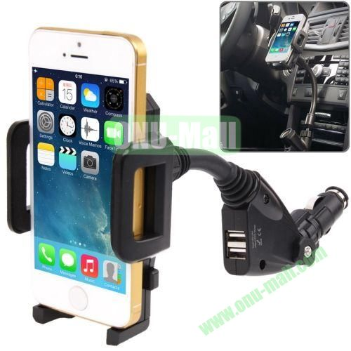 12V Cigarette Lighter Power Supply with 2 x USB Ports Car Charger Holder for iPhone 5 & iPhone 5S  iPhone 4 & 4S  3G3GS  Samsung  Nokia  HTC and Most Smart Phones , Adjusting width 135mm