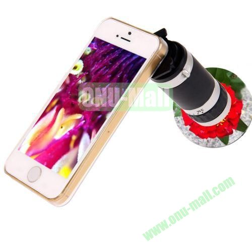 High-Quality 8X Zoom Lens Mobile Phone Telescope + Crystal Case for iPhone 5 & 5S