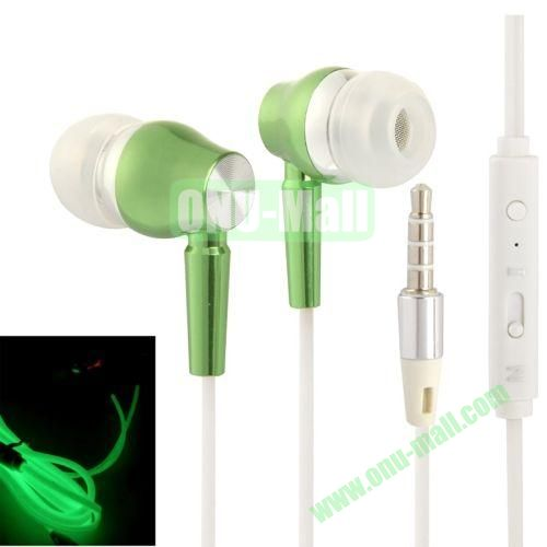 3.5mm Fluorescent Effect Metal Stereo Earphones with Line Control & Microphone, Suitable for iPad Air   iPad minimini 2 Retina  iPhone 5 & 5S  iPhone 6  Samsung S5  HTC One 2  Other Smart Phone (Green)