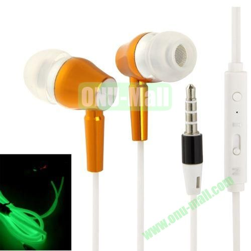 3.5mm Fluorescent Effect Metal Stereo Earphones with Line Control & Microphone, Suitable for iPad Air   iPad minimini 2 Retina  iPhone 5 & 5S  iPhone 6  Samsung S5  HTC One 2  Other Smart Phone (Gold)