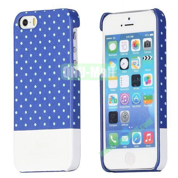 Kajsa Double Color Dot Pattern Protective Back Hard Case for iPhone 55S (Blue+White)