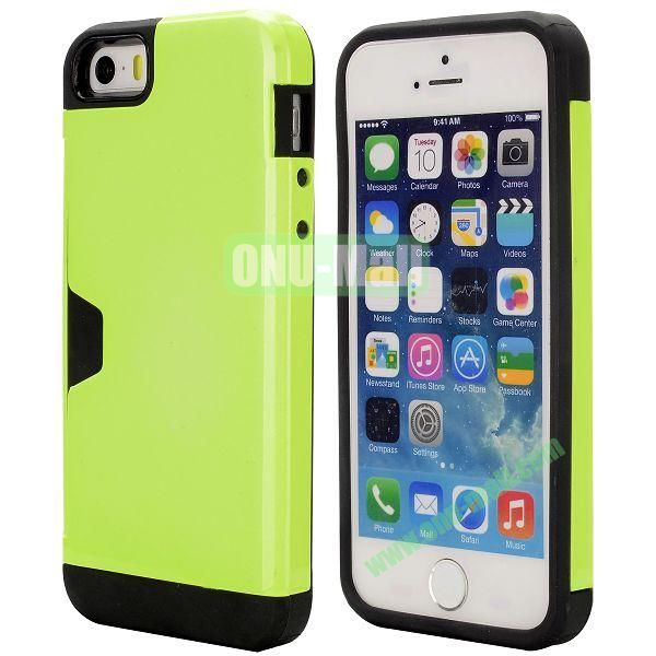 Hybrid PC and TPU Case for iPhone 5S 5 with Card Inserts on the Back (Yellowgreen)